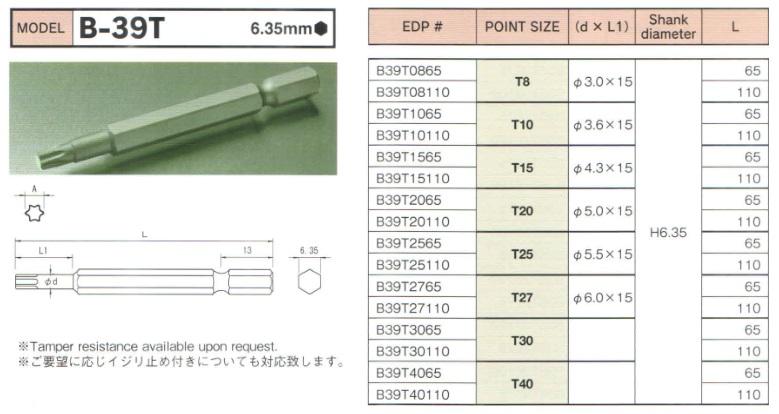 Mũi bits hoa thị BiX B-39T, bits hoa thị cỡ T8 đến T40, BiX B-39T, mũi hoa thị T8 đến T40