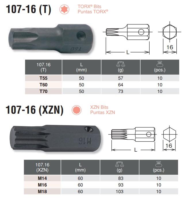 Đầu bits hình sao, bits thân 16mm, Koken 107-16, bits Koken 107.16