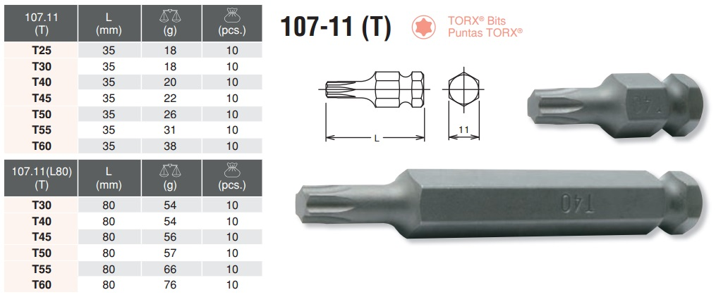 Đầu bit sao, đầu bits sao, đầu bit hoa thị, Koken 107.11T