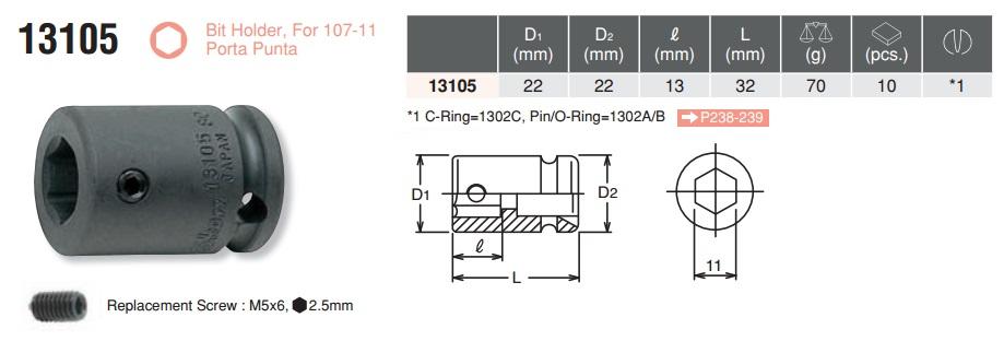 Khẩu nối đầu bits, khẩu nối bits, Koken 13105, tuýp đầu sao, tuýp hoa thị Koken