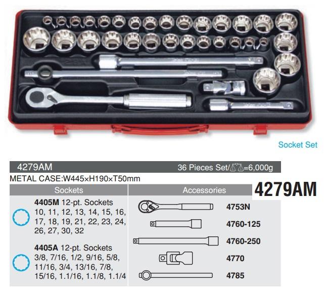 Bộ tuýp 1/2 inch, Koken 4279AM, bộ tuýp Koken hệ mét và hệ inch,