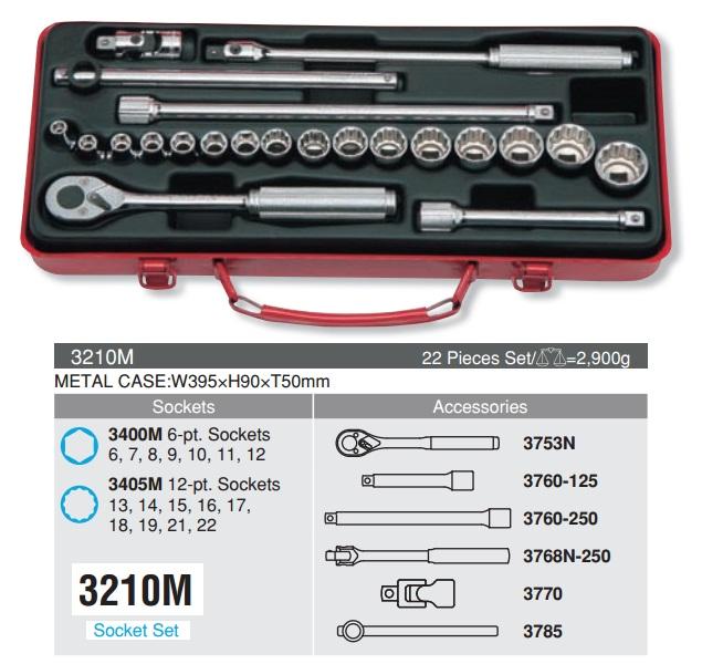 Bộ tuýp 3/8 inch, Koken 3210M, bộ tuýp Koken hệ mét từ 6 đến 22mm
