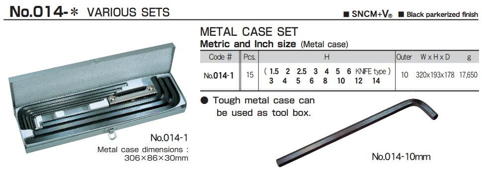 Bộ lục giác 15 cỡ, Eight 014-1, bộ lục giác từ 1.5 đến 14mm, bộ lục giác chìm
