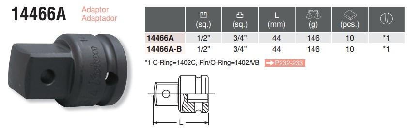 Đầu chuyển 1/2 inch, đầu chuyển 1/2 inch sang 3/4 inch, 14466A, Koken 14466A