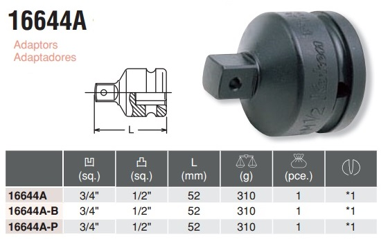 Đầu chuyển 3/4 sang 1/2, Koken 16644A, 16644A, đầu chuyển súng 3/4 inch