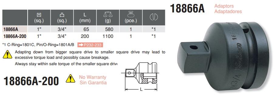 Đầu chuyển 1 inch sang 3/4 inch, Koken 18866A, đầu chuyển 1 inch