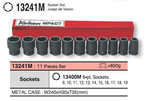 Bộ đầu khẩu 3/8 inch, Koken 13241M, bộ tuýp 3/8 inch dùng cho súng,