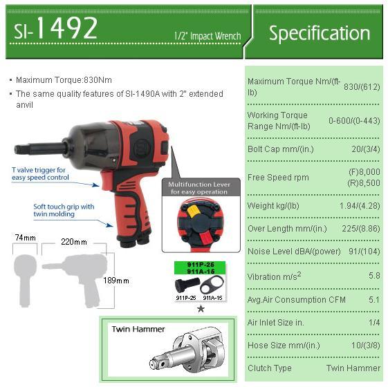 Súng vặn ốc 1/2 inch, Shinano SI-1492, súng vặn bu lông dùng khí nén