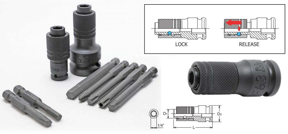 Đầu lắp bits 6.35mm, đầu chuyển Koken, đầu gắn bits Koken, 14142-F.6.3