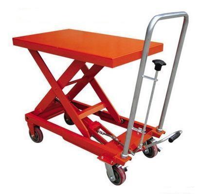 Xe nâng mặt bàn Model TT1000, tải trọng nâng 1000kg nâng cao 1000mm, với 1 tầng nâng di chuyển nhẹ nhàng với bánh xe PU, nâng hạ dễ dàng với hệ thống kích chân và xả bằng tay