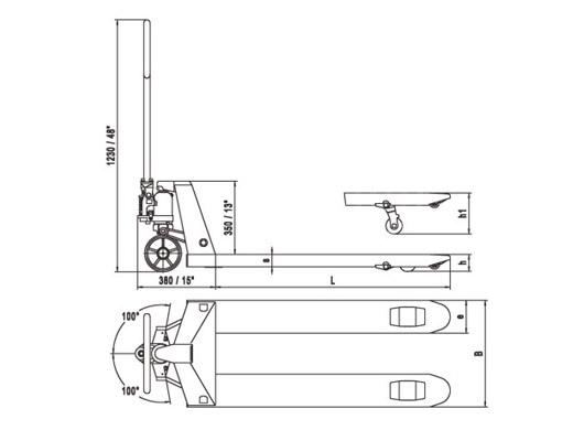 Xe nâng tay Delta hiệu Nobelift Đức với kích thước càng 685*1220mm theo tiêu chuẩn, thủy lực được đúc liền khối tăng tuổi thọ và giá cả phải chăng