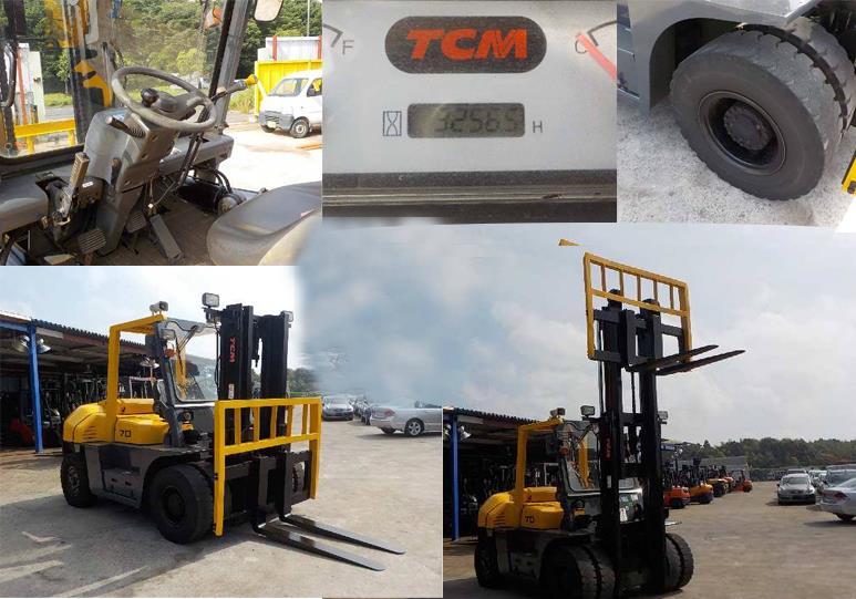 Xe nâng dầu cũ Hiệu TCM FD70-2 với tải trọng nâng 7T - nâng cao 3 mét, máy móc vận hành khỏe với động cơ hiệu AT, nâng hạ hang hóa chắc chắn với KT càng 1.3 mét