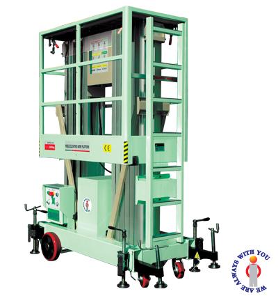 Thang  nâng điện  hiệu OPK, thang nâng người 10m, thang nâng đôi, thang nâng hàng -Japan sản xuất tại Malaysia, khung thang nâng di động nhập khẩu