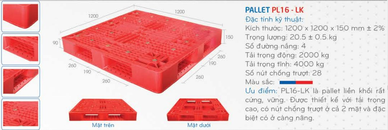 Pallet nhựa mới PL16LK với giá pallet nhựa phải chăng, chất liệu nhựa PHDE bền bỉ,kích thước:1200*1200*150mm ± 5%, giá cả phải chăng