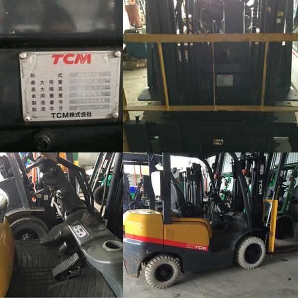 Xe nâng dầu cũ TCM 2.5T cao 3M đời 2012 Side shifter vận hành mạnh mẽ với động cơ Kubota V2403, xe còn nguyên đẹp như mới máy móc vận hành êm ái, hoạt động 662h