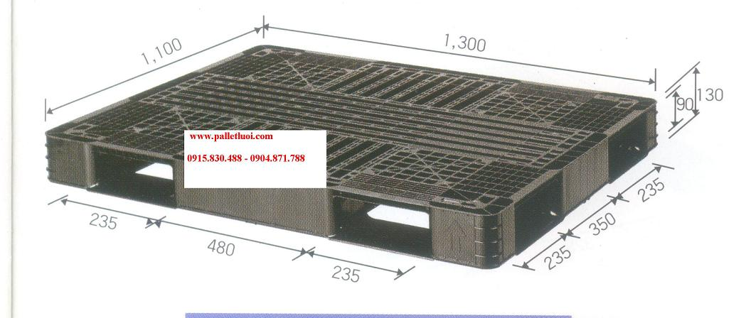 pallet nhựa cũ 1100x1300x130mm