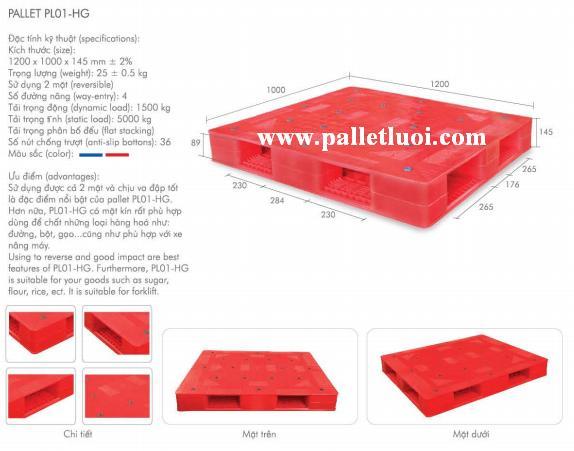 pallet nhựa 2 mặt 1200x1000x145mm