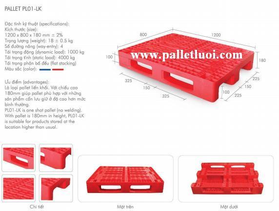 pallet nhựa mới 1200x800x180mm