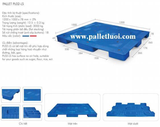 pallet nhựa mới 1200x1000x78mm