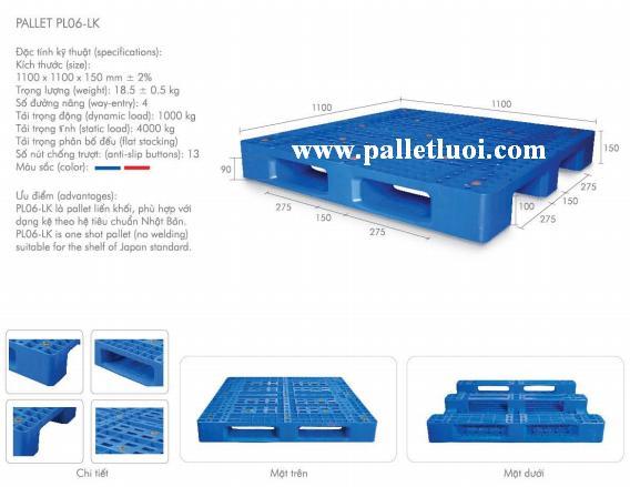 pallet nhựa mới 1100x1100x150mm