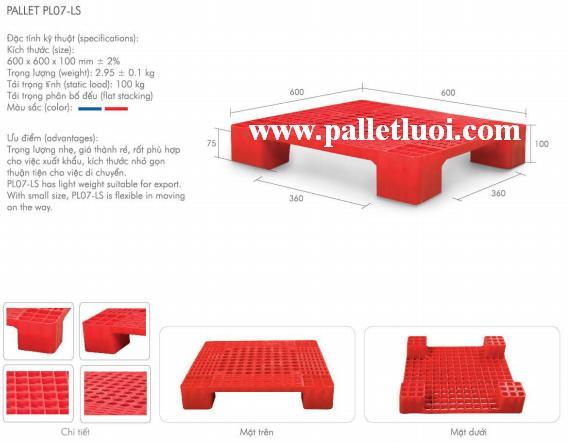 pallet nhựa mới 600x600x100mm