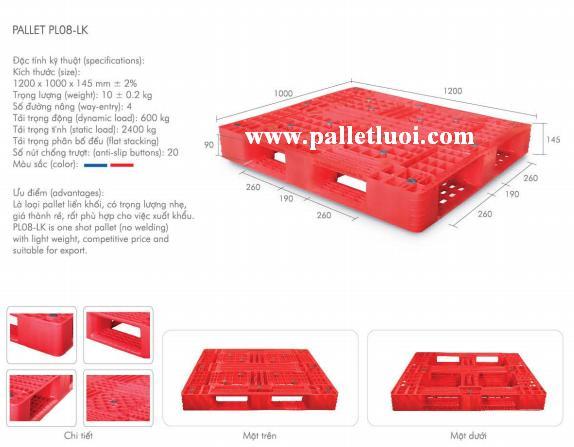 pallet nhựa mới 1200x1000x145mm