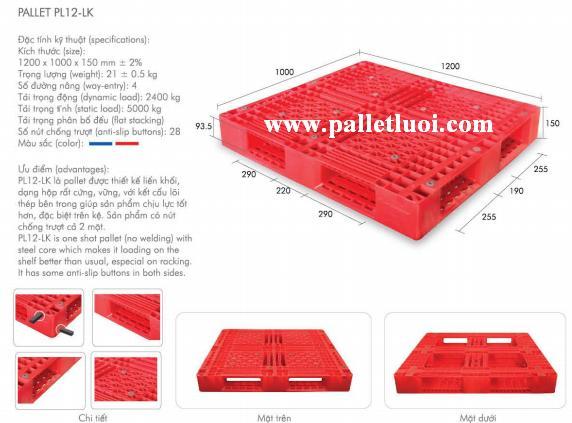 pallet nhựa mới 1200x1000x150mm