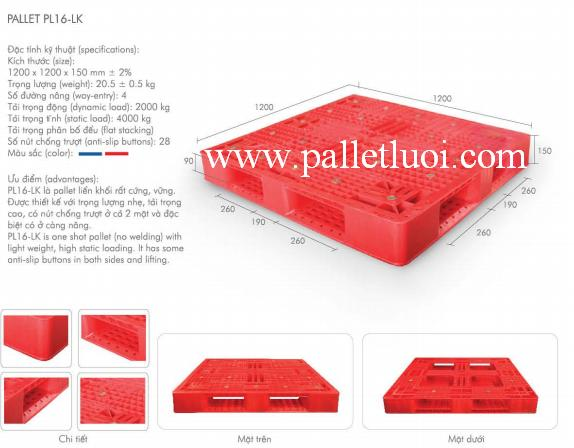 pallet nhựa mới 1200x1200x150mm