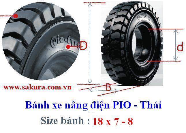 Vỏ xe nâng Pio 18x7-8, lốp đặc, vỏ xe nâng, sakura.com.vn