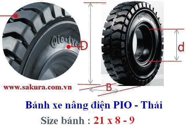 Vỏ xe nâng Pio 21x8 - 9, lốp đặc, vỏ xe nâng, sakura.com.vn