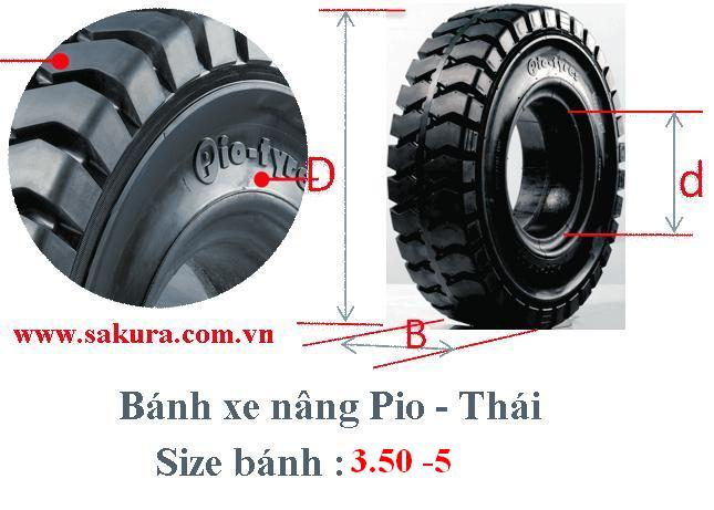 banh xe nang Pio 350-5, bánh xe nâng, vỏ xe nâng , sakura.com.vn