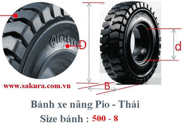 banh xe nang Pio 500-8, bánh xe nâng, vỏ xe nâng, sakura.com.vn