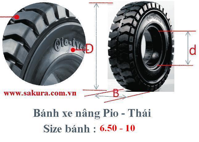 banh xe nang Pio 650-10, bánh xe nâng, vỏ xe nâng. sakura.com.vn