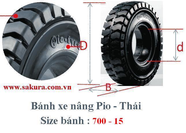 banh xe nang Pio 700-15, lốp xe nâng, vỏ xe nâng, sakura.com.vn