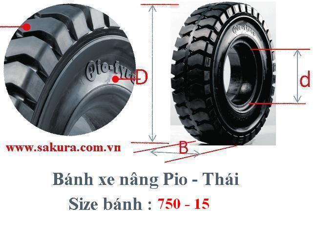 banh xe nang Pio 750-15, lốp xe nâng, lốp đặc, sakura.com.vn