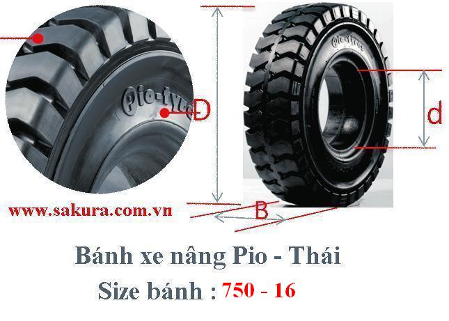 banh xe nang Pio 750-16, lốp xe nâng, lốp đặc, sakura.com.vn