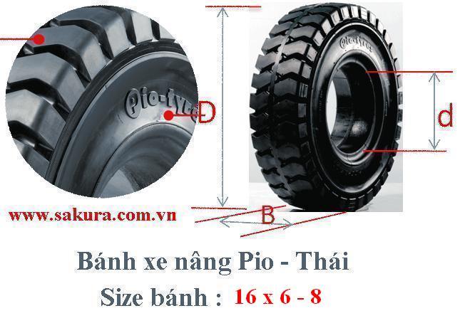 Vỏ xe nâng điện Pio 16x6-8, lốp cao su đặc, lốp đặc, sakura.com.vn