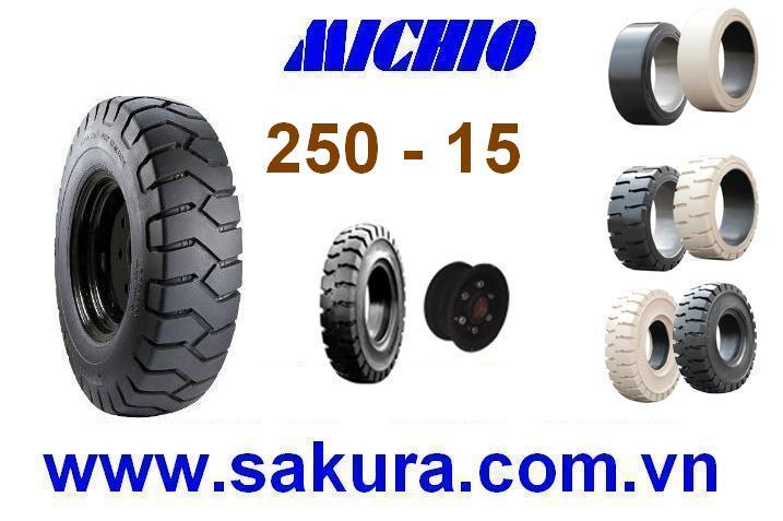 Vỏ đặc xe nâng hàng hiệu Michio, vỏ xe nâng michio 250-15, vỏ xe nâng, sakura.com.vn