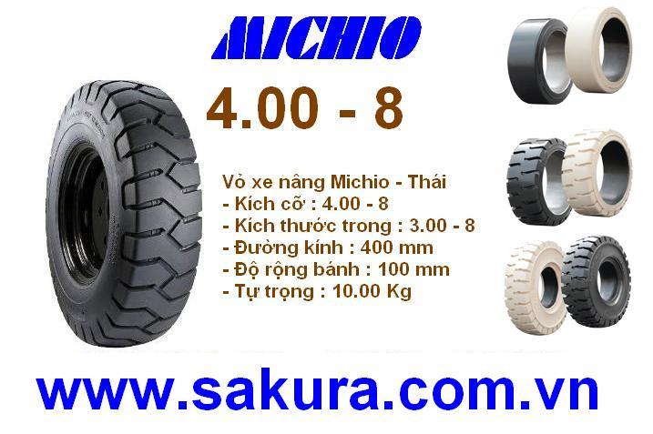 Vỏ đặc xe nâng hàng hiệu Michio, vỏ xe nâng michio 400-8, vỏ xe nâng, sakura.com.vn