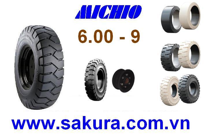 Vỏ đặc xe nâng hàng hiệu Michio, vỏ xe nâng michio 600-9, vỏ xe nâng, sakura.com.vn