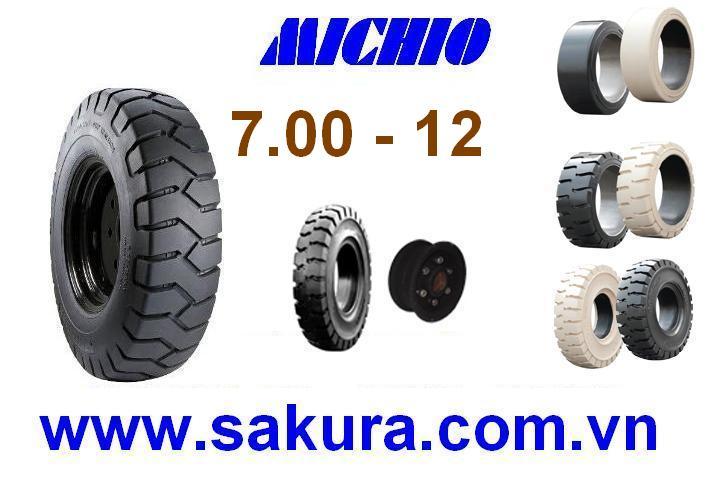 Vỏ đặc xe nâng hàng hiệu Michio, vỏ xe nâng michio 700-12, vỏ xe nâng, sakura.com.vn