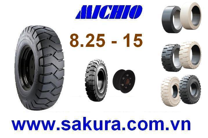 Vỏ đặc xe nâng hàng hiệu Michio, vỏ xe nâng michio 825-15, vỏ xe nâng, sakura.com.vn