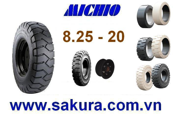 Vỏ đặc xe nâng hàng hiệu Michio, bánh xe nâng, vỏ xe nâng