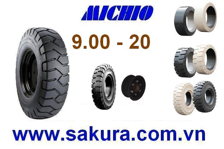 vỏ xe nâng michio 900-20, vỏ xe nâng, sakura.com.vn, bánh xe nâng