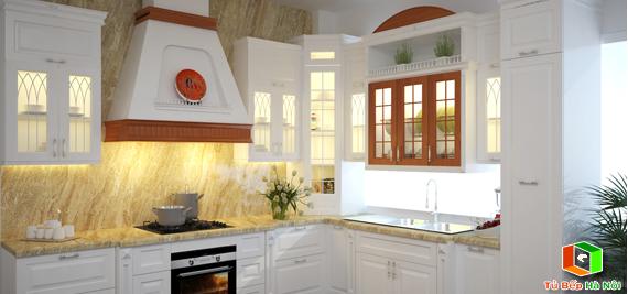 Tủ bếp gỗ sơn trắng