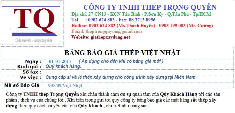 BẢNG GIÁ Thép xây dựng Việt Nhật