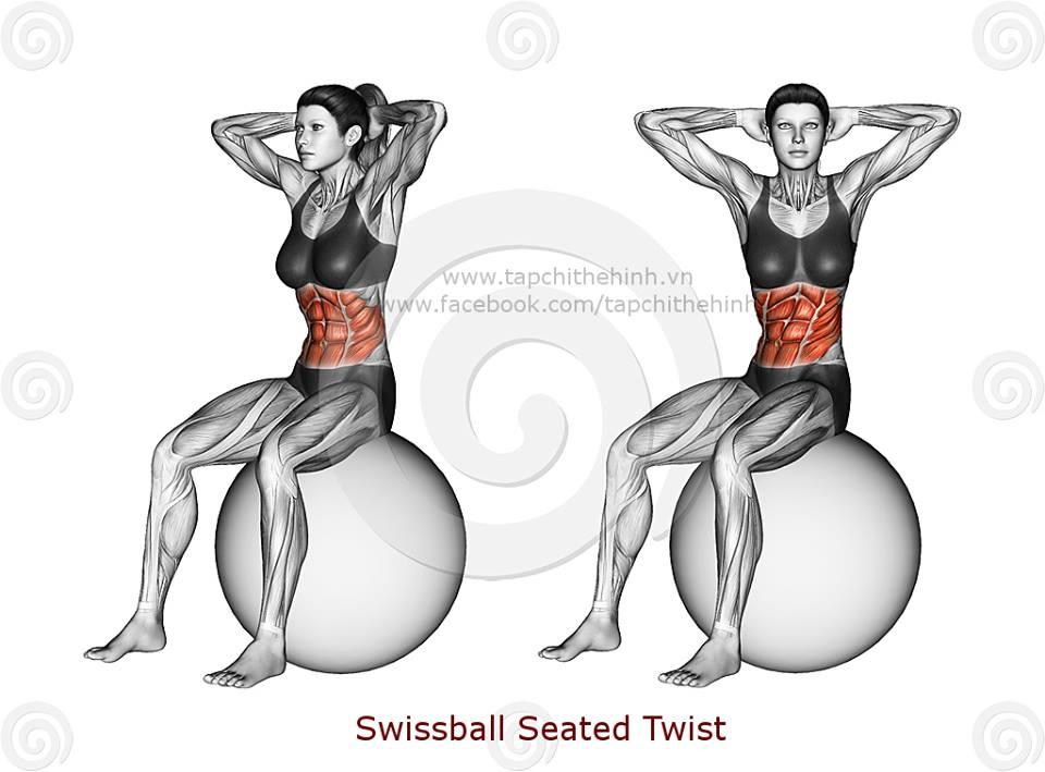 Tập cơ bụng với bóng yoga,bóng thể dục