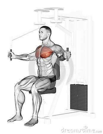 tập ngực giữa với máy ép ngực