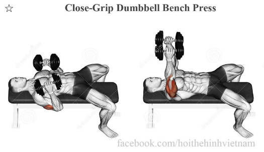 Close-Grip Dumbbell Bench Press