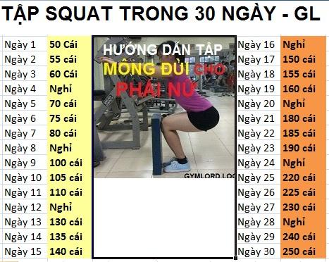 squat tập chân mong cho nữ